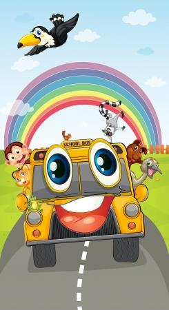 autoscuola: illustrazione di vari animali in scuolabus Vettoriali