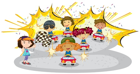 illustration of kids driving car on a white background Vector