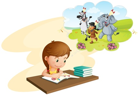 Illustration of girl doing homework and dreaming