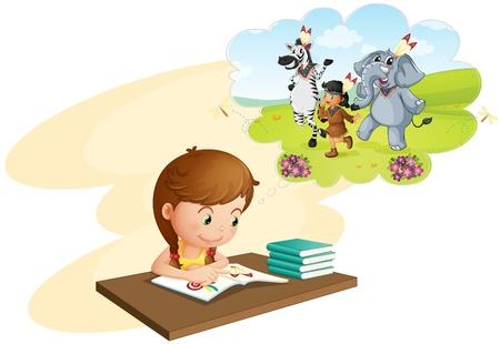 Ilustración de una niña haciendo los deberes y soñar