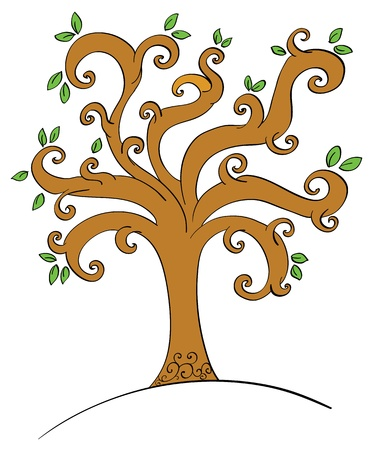 Illustration of a tree with leaves Vector