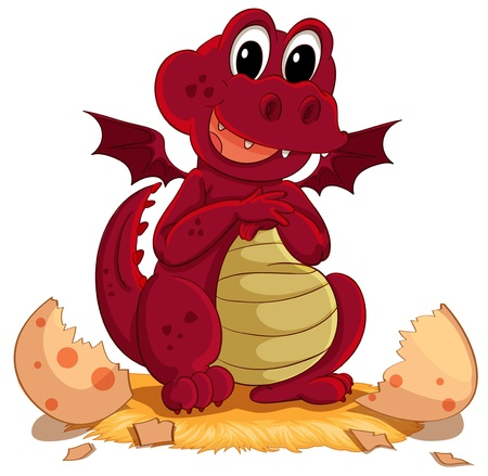 folded hand: Illustration of a dragon hatching