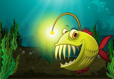 suspens: Illustration d'un poisson monstre dans l'eau Illustration