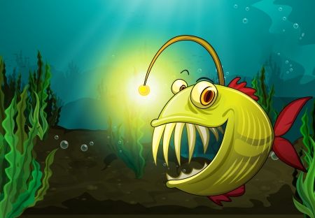 illustration of a monster fish in water Vector