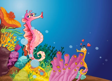 woman underwater: Illustration of two seahorses in love