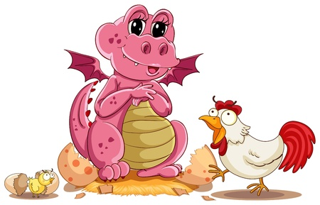 illustration of hen, chicken and baby dinosaur Vector