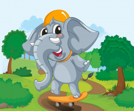 Illustration of a skateboarding elephant Stock Vector - 14100291
