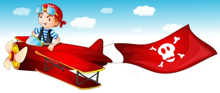 illustration of a boy flying  air plane Vector