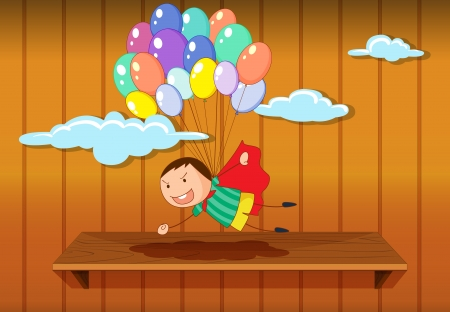 Illustration of a simple boy flying Stock Vector - 14100294