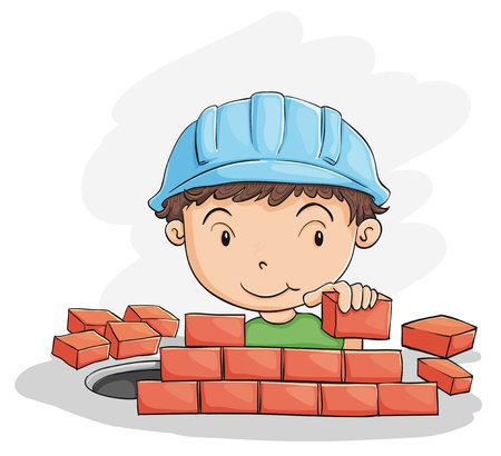 white brick: illustration of a boy building wall on a white Illustration