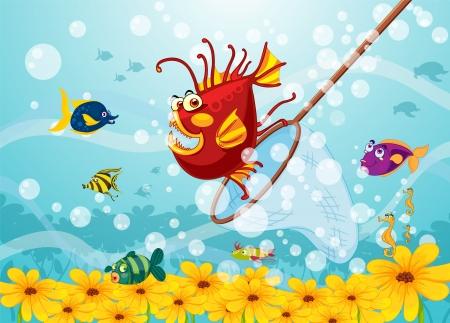 illustrazione di un pesce mostro in acqua