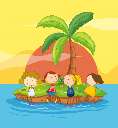 tall woman: Illustration of kids on an island Illustration