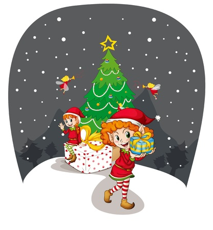 illustration of two girls celebrating christmas festival Stock Vector - 14100306