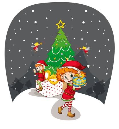 illustration of two girls celebrating christmas festival Stock Vector - 14100306