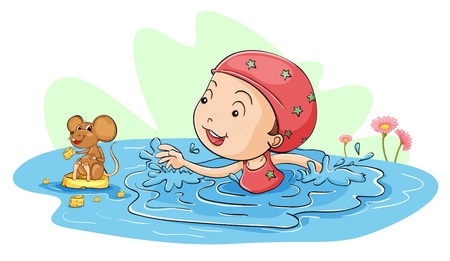 children pond: Illustration of a girl swimming with a mouse Illustration
