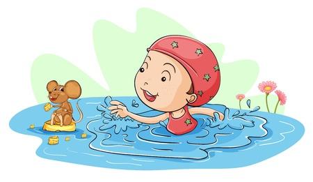 kid eat: Ilustraci�n de una ni�a de nataci�n con un rat�n