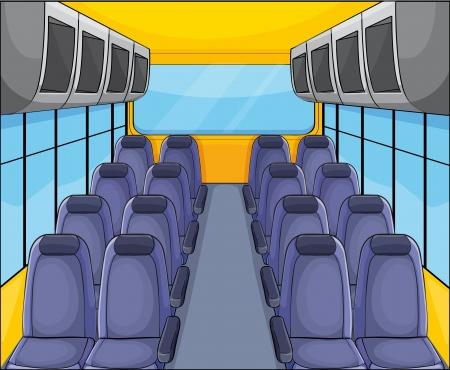 illustration of vehical seat arrangementand inside view Illustration
