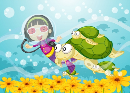 illustration of a tortoise and girl in water Vector