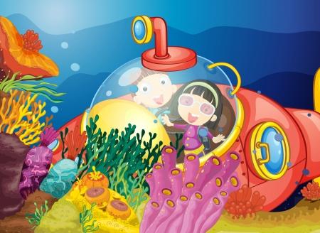 mar: ilustración de una natación niños en el agua