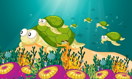 under the sea: illustration of a tortoise swimming in water