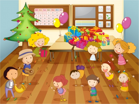 preschool classroom: illustration of a kids dancing in classroom