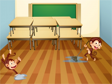 clean floor: illustration of a monkeys cleaning classroom