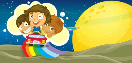 illustration of kids driving car on rainbow Vector