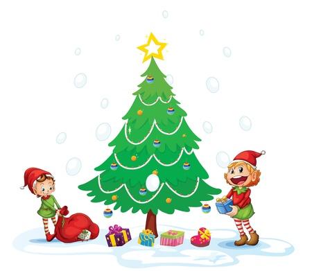 give a gift: illustration of girls celebrating christmas festival Illustration