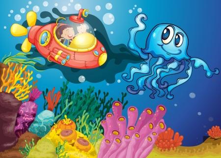 잠수함에 문어와 아이의 그림 일러스트