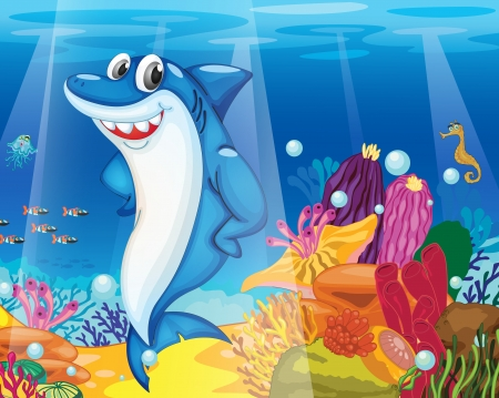 under the sea: illustration of shark fish in deep blue sea