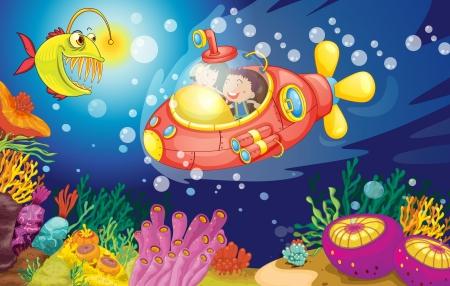 submarino: ilustración de una natación niños en el agua
