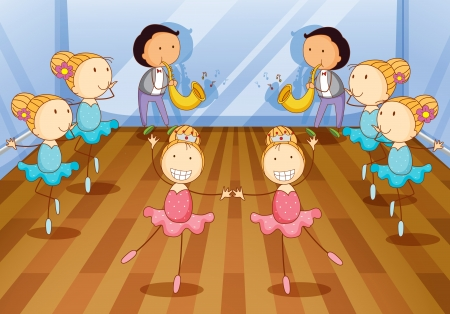 illustration of dancing kids on a room Vector