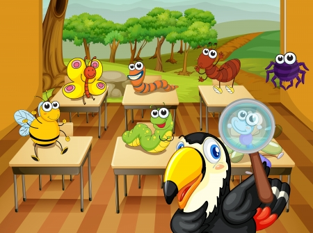 spider: illustration of a animals sitting in classroom