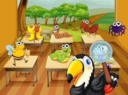 gusanos: ilustraci�n de un animal sentado en el aula
