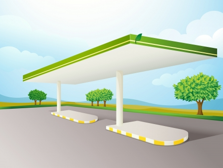 illustration of a empty petrol pump shade on a road