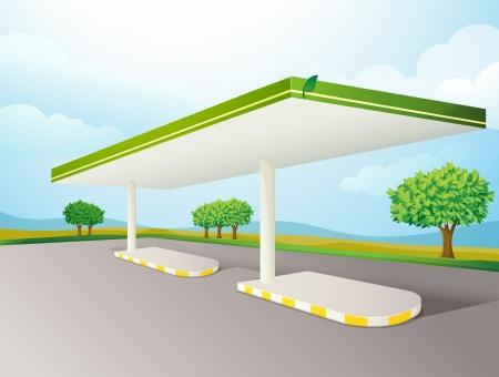 ilustracja pusty cieniu pompy benzynowej na drodze