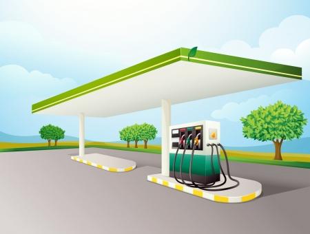 Ilustración de una bomba de gasolina en una carretera Ilustración de vector