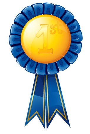 first prize: illustration of a badge on a white background