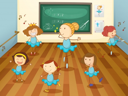preschool classroom: illustration of a girls dancing in classroom Illustration