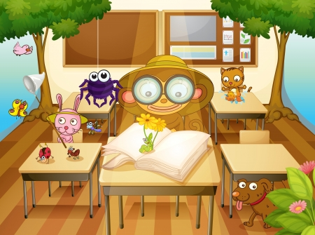 illustration of a animals and trees in classroom Vector