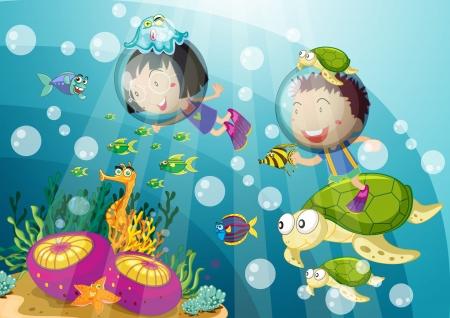 girl underwater: illustratie van de schildpad en kinderen in onderzeeër Stock Illustratie