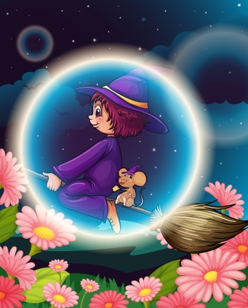 illustration of a witch flying on broom Vector