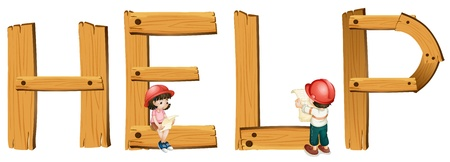 education help: illustration of english word help on a white background Illustration