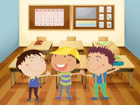three objects: illustration of a kids holding hands in classroom