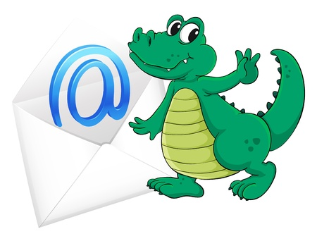 illustration of a crocodile with mail envelop on a white Vector