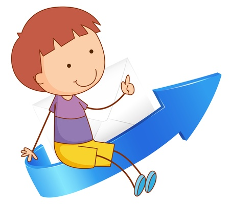 illustration of a boy sitting on arrow on a white Vector