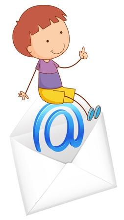 envelop: illustration of a boy sitting on mail envelop on a white