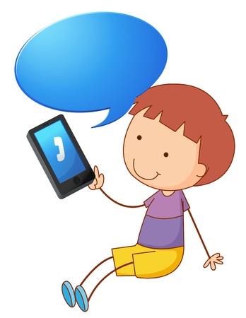 man on cell phone: ilustraci�n de un ni�o con tel�fono celular sobre un fondo blanco Vectores