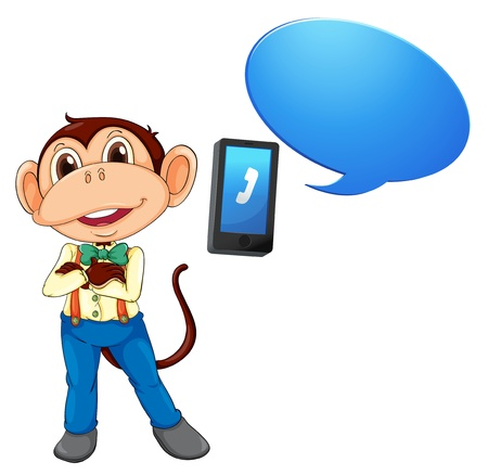 illustration of a monkey with cell phone on a white Vector