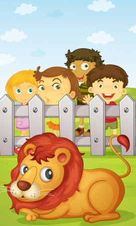 illustration of  four kids watching a lion Vector